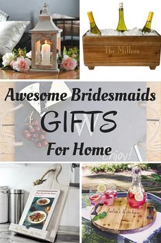 Say thank you to your bridesmaids for being a part of your wedding day with awesome personalized gifts for the home they can use every day or for entertaining. Don't forget a gift for your bridal shower hostess as well. The girls on your gift list will be ecstatic when they unwrap their personalized gift from you. Unique, fun, and functional home gifts like these can be ordered at http://myweddingreceptionideas.com/personalized-home-decor-gifts-bridesmaids.asp