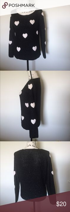 LC Lauren Conrad Heart Patch Sweater Small Sparkly black sweater from LC Lauren Conrad! Heart patches on the front and on the sleeves. Adorable. Tiny hole at the top as pictured where a thread came loose. Otherwise good condition. Size small. LC Lauren Conrad Sweaters Crew & Scoop Necks
