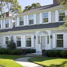 Gray House White Shutters | Exterior House | Pinterest | White ...