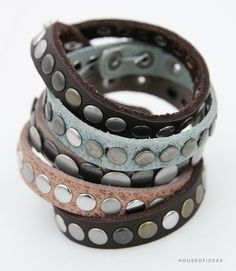 Leather bracelet with studs - House of Ideas