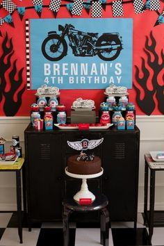 Dessert/treat table and backdrop at a Motorcycle Rally Party with REALLY AWESOME Ideas via Kara's Party Ideas | KarasPartyIdeas.com #Harley #Motorcycle #Party #Ideas #Supplies #desserttable #backdrop