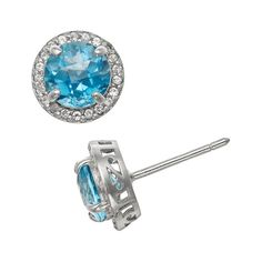 Sterling Silver Swiss Blue Topaz and Lab-Created White Sapphire Halo Stud Earrings, Women's