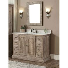 Infurniture Rustic Style Matte Ash Grey Limestone Top 48 Inch Bathroom Vanity With Matching Wall Mirror