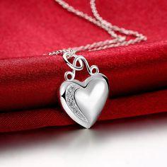 Elegante collar y colgante de corazón de plata, nuevas llegadas de cristal joyas brillantes, promociones niza plateado collar de joyas