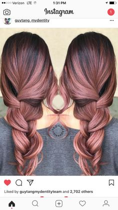 Many people have no idea what they should do with the hair the best care possible. The advice in this article will give you some of the best methods for hair Rose Hair Color, Hair Color And Cut, Hair Dye Colors, Ombre Hair, Balayage Hair, Pink Hair, Rose Gold Hair Brunette, Rose Gold Balayage, Cabelo Rose Gold