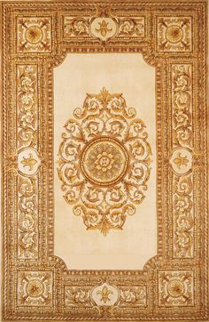 """Momeni Rugs MAISOMA-08IVY5380 Maison Collection, 100% Wool Hand Carved & Hand Tufted Traditional Area Rug, 5'3"""" x 8', Ivory"""