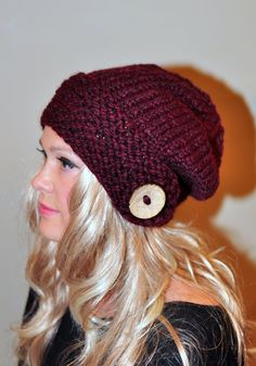 Slouchy Hat Slouch Beanie Button Hand Knit Winter Adult por lucymir, $59.99