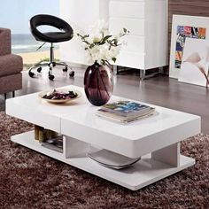 UEnjoy Gloss Coffee Table White with Drawers and Black Tempered