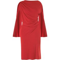 OSMAN Drape front jersey dress ($320) ❤ liked on Polyvore featuring dresses, red, red jersey, red long sleeve dress, slimming dresses, jersey dress and drape dress