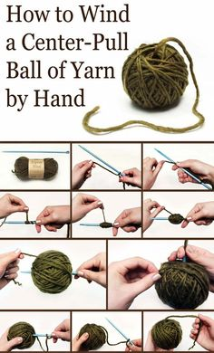 To Wind A Center-Pull Ball of Yarn by hand - 20 Inasnely Clever Yarn Hacks That Will Make Your Next Project Easier!How To Wind A Center-Pull Ball of Yarn by hand - 20 Inasnely Clever Yarn Hacks That Will Make Your Next Project Easier! Loom Knitting, Knitting Stitches, Knitting Patterns, Crochet Patterns, Knitting Needles, Knitting Help, Vogue Knitting, Hand Knitting, Loom Patterns
