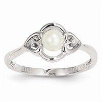 Birth Stone Rings - 14k Gold White Gold Pearl Diamond Ring