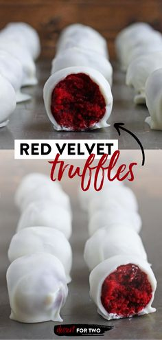 This small batch dessert is sure to become a favorite! Made with red velvet cake and a cream cheese frosting for the filling plus a white chocolate coating, these truffles are as gorgeous as they are delicious. What's more, you can easily double the recipe! Save this pin! Easy Red Velvet Cake, Red Velvet Truffles, Easy Impressive Dessert, Small Batch Baking, Recipes With Few Ingredients, Dessert For Two, Easy Desserts, Dessert Recipes, Dessert Ideas