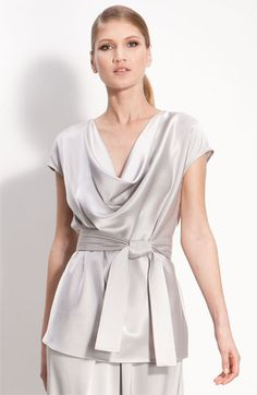 St John Collection-Cowl Neck Satin Blouse $595