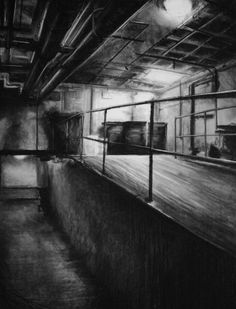 """Clara Lieu, Student Artwork, RISD Foundation Studies, Freshman Drawing course, Interior Architectural Space Defined by Light Assignment, charcoal, 36"""" x 48"""""""