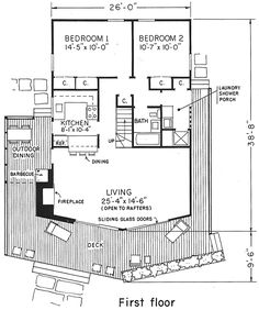 A Frame House Plan 57545 Open kitchens Kitchens and House