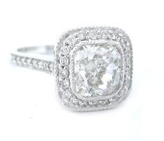 Cushion cut diamond engagement ring bezel set 275ctw by KNRINC, $14595.00