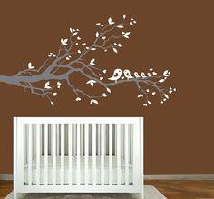 white tree branch - wall decal with leaves, hearts and family of birds - nursery wall art