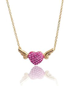 Another great find on #zulily! GIRL NATION Fuchsia Crystal Angel Heart Necklace by GIRL NATION #zulilyfinds