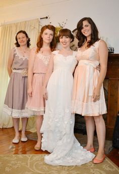 Miss-matched rustic bohemian bridesmaids dresses. My bridesmaids made all of their own dresses! That's the way to go if you have a color palette, some solid images to send them, and the girls are handy with a sewing machine (or know someone that is). Saves lots of money, time, frustration, and they end up with a dress that they actually love!