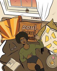 — nyanzad: Soul by Nyanza D Website // Shop //. Black Girl Cartoon, Hippie Art, Black Art Painting, Female Art, Black Girl Art, Black Cartoon, Art, Cartoon Art, Aesthetic Art