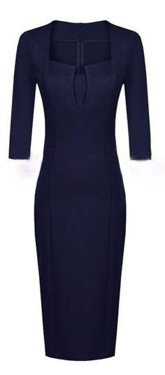 This navy sheath dress has clean lines, an unusual neckline, and longer sleeves. Great for the days when I am  in the mood for one piece dressing.