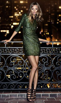 LUSTING AFTER THIS DRESS! Must buy!! SEQUIN CUT-OUT BACK MINI DRESS | Express Style 7938045 COLOR: GREEN SIZE: 6