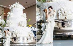 O bolo da Piece of cake, seguia a mesma linha de inspiração da decoração, com aplicações de flores em glacê e relevos discretos espalhados em seus três andares.