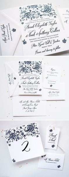Lace Watercolor Wedding Invitations - The design features original watercolor vintage lace art. Available in royal blue, pink, and more! - www.mospensstudio.com