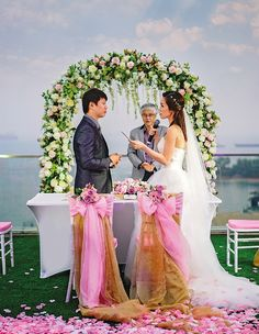 Clara & Lawrence's romantic sunset wedding at iFly Singapore, and dinner reception at Capella Singapore