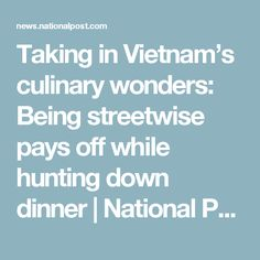 Taking in Vietnam's culinary wonders: Being streetwise pays off while hunting down dinner | National Post