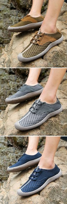 Men Mesh Fabric Breathable Quick Drying Non-slip Lace Up Casual Shoes