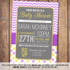 Chevron Girls Baby Shower Invitations modern by JoyPribishDesigns, $15.00