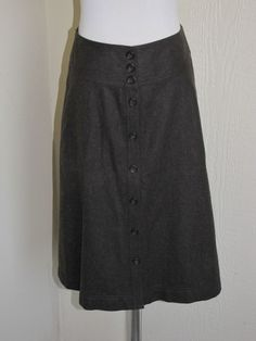 Banana Republic size 2 brown wool button front A-line skirt NWT