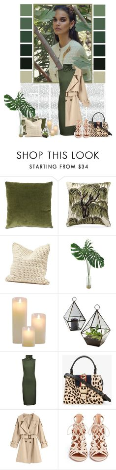 """Into the Jungle"" by xxochrissyxxo ❤ liked on Polyvore featuring House of Hackney, Coyuchi, Studio Mercantile, L'Agence, Gucci and Aquazzura"