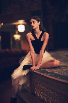Taylor Hill wears Velvet Bodice Gown for November 2015 Lookbook Photoshoot