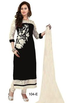 Black and White embroidered Georgette unstitched salwar with dupatta