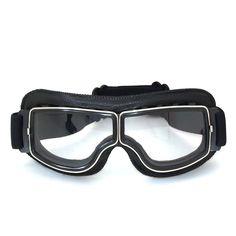 De alta qualidade Da Marca New Moto Cruiser Óculos Moldura preta de Couro da motocicleta óculos de proteção Piloto Do Vintage Óculos de Lente Clara em Óculos de Automóveis & Motos no AliExpress.com   Alibaba Group
