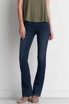 AEO Denim X4 Skinny Kick Jeans, Women's, Size: 6 X-Long, Dark Atlantic