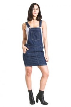 40facc92788 USKEES Short Denim Dungaree Dress - Dark Blue Bib-skirt.