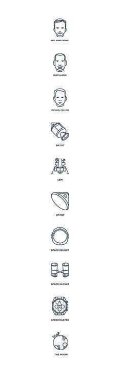 Apollo 11 Moon Landing Icon Set on Behance
