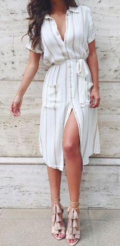 Shirt dress + tasseled heels.