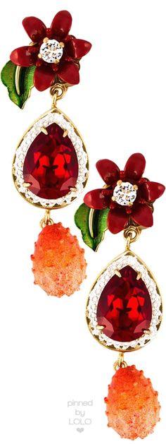 DOLCE & GABBANA flower drop clip-on earrings | LOLO❤︎