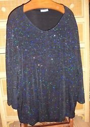 NOTATION~Black Top w/Attached Glittered Glam Jkt ~Lg Slv~Women's~2 to 3X
