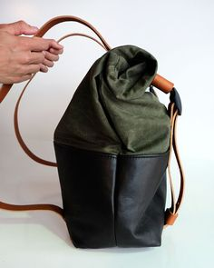 Leather and Waxed Canvas Weekender Bag The HotShot by AwlSnap