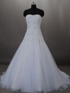 Style BGM08226 – Strapless Wedding Dresses with Organza Ball Gown Skirt