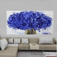 Oil Landscape Tree painting Abstract Original 48 palette by artmod