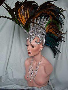 Green Glass Mohawk Showgirl Drag Queen Headdress