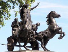 The massive bronze statue of Boudicca in her chariot at Westminster Bridge.