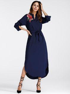 Embroidered Rose Applique Side Split Belt DressFor Women-romwe