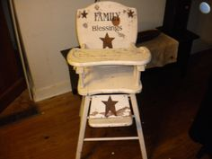 Hand Painted Antique Highchair, I have one in the attic. This would be cute to do!!